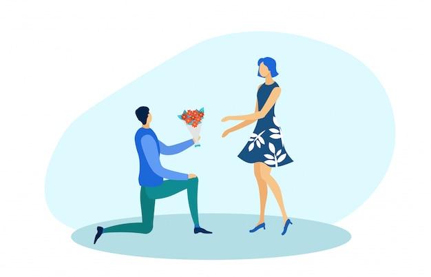 Homme sur un genou faisant la proposition de femme avec bouquet.