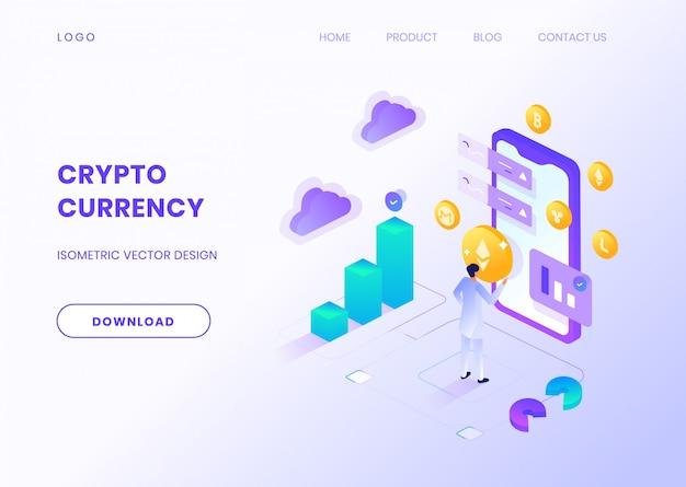 Homme gérant la conception isométrique d'investissements de crypto-monnaie