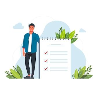 Homme, gestionnaire priorisant les tâches dans la liste des tâches. homme prenant des notes, planifiant son travail, soulignant les points importants. illustration vectorielle pour l'ordre du jour, la liste de contrôle, la gestion, le concept d'efficacité