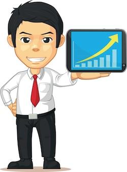 Homme avec graphique ou graphique croissant sur cartoon isolé tablette mobile