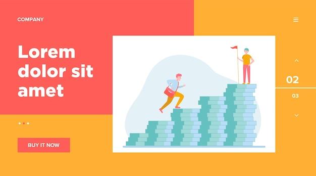 Homme grimpant sur le graphique à barres de l'argent. son collègue debout sur le dessus avec un modèle web de drapeau