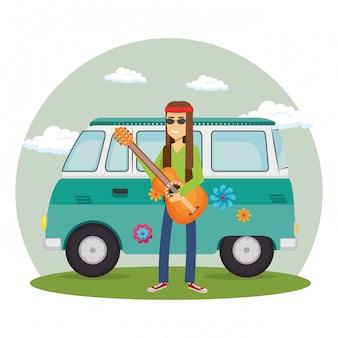 Homme avec guitare et van