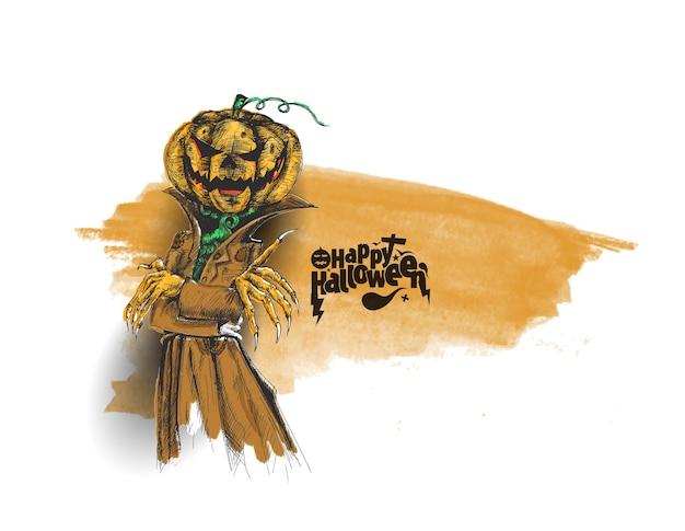 Homme habillé en dracula avec tête de citrouille d'halloween, fond de vecteur de croquis dessinés à la main.