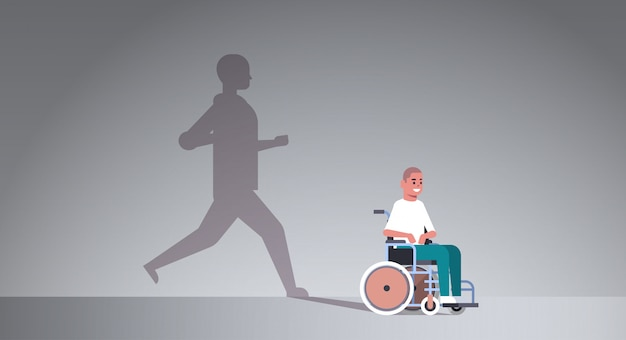 Homme handicapé en fauteuil roulant rêvant de récupération