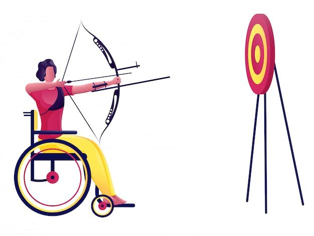 Homme handicapé visant à atteindre la flèche de l'arc dans le jeu de fléchettes
