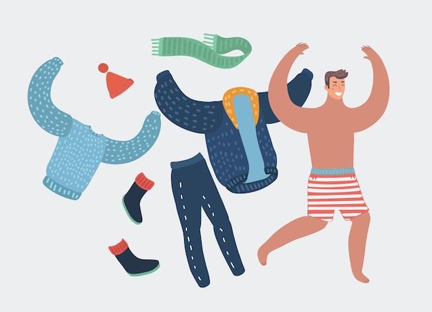 Homme heureux de dessin animé enlevant des vêtements de travail courant avec joie