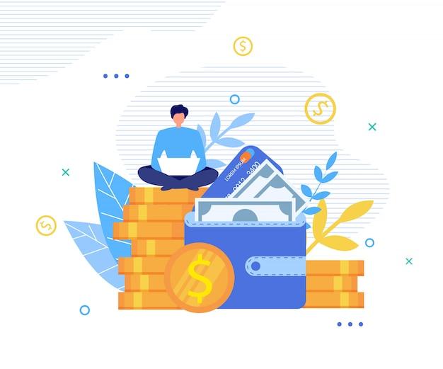 Homme heureux gagne de l'argent en ligne sur la métaphore de l'ordinateur portable