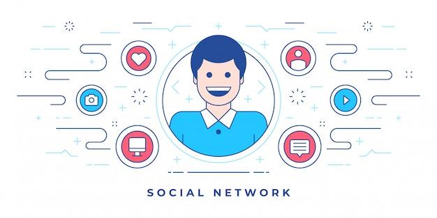 Homme heureux et icônes créés pour le site web moderne avec le marketing de réseau social