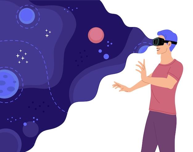 Homme heureux avec des lunettes pour la réalité virtuelle explore l'espace