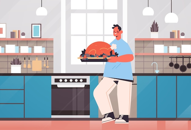 Homme heureux, préparer, dinde, à, maison, cuisine, concept, cuisine moderne, intérieur, horizontal