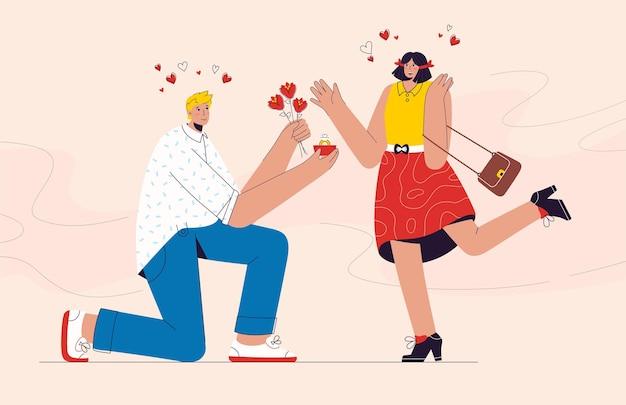 Un homme heureux propose le mariage à sa petite amie