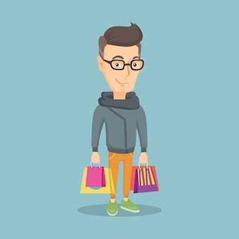 Homme heureux avec des sacs à provisions vector illustration.