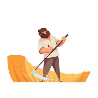 Homme heureux scything en dessin animé sur le terrain