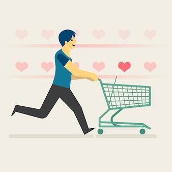 Un homme heureux shopping illustration de coeurs artificiels.
