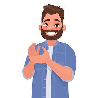 Un homme heureux tape dans ses mains. geste d'admiration. bravo. toutes nos félicitations. en style cartoon