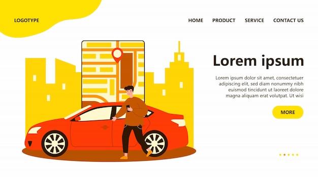 Homme heureux utilisant l'application de partage de voiture