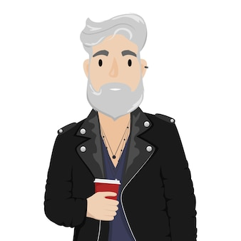 Un homme hipster aux cheveux gris et une barbe dans une veste de motard en cuir avec une tasse de café. sous-culture, mode. illustration de dessin animé