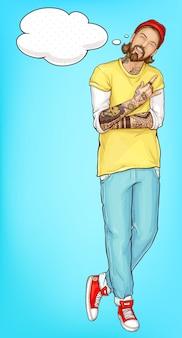 Homme de hipster heureux montrant le vecteur de signe de cornes