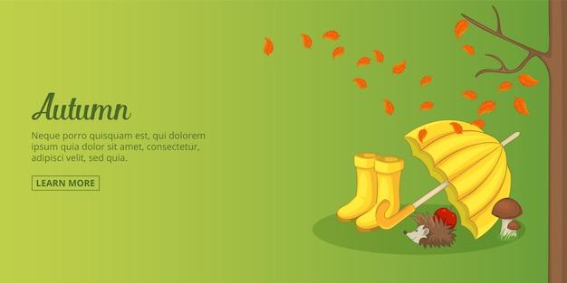Homme horizontal bannière temps automne, style cartoon