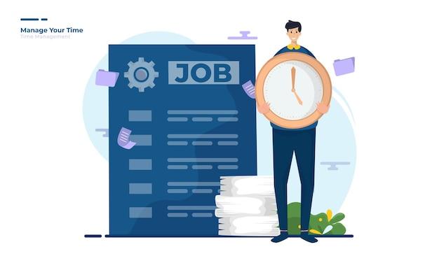 Un homme avec horloge pour illustration de gestion du temps