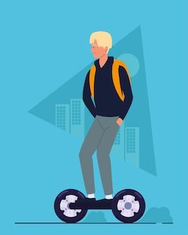 Homme sur hoverboard électrique