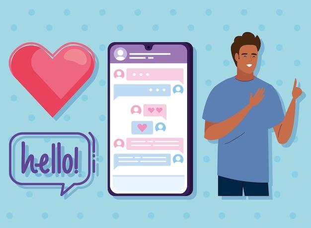 Homme avec des icônes de relation virtuelle