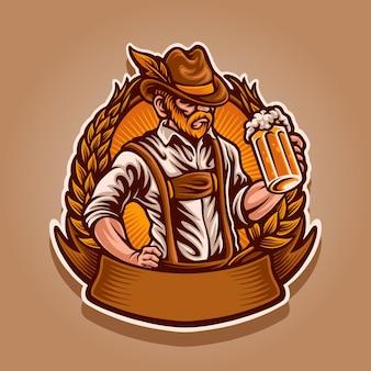 Homme avec illustration de mascotte de bière