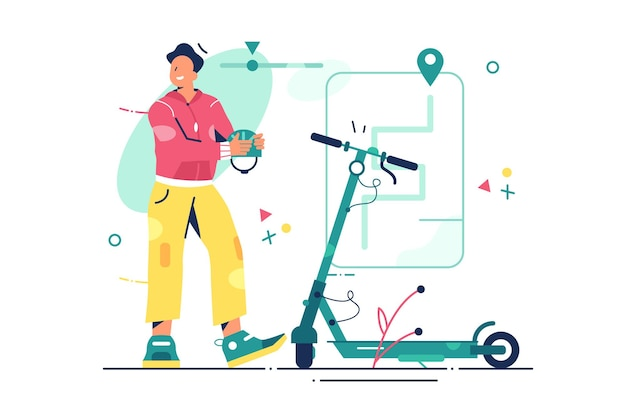 Homme avec illustration de scooter électrique.