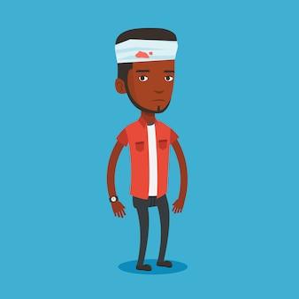 Homme avec illustration de tête blessée.