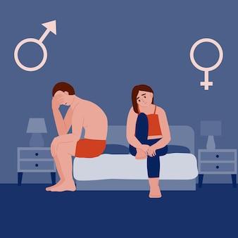 Homme impuissance et dysfonction érectile femme triste et homme au lit la nuit après une mauvaise prostatite sexuelle