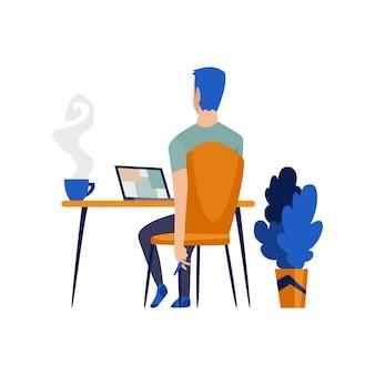 Homme indépendant travaillant à domicile dans des conditions confortables. travail de personnage de dessin animé à domicile