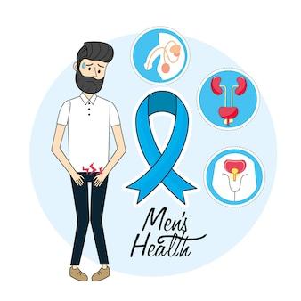 Homme, infection rénale, et, ruban bleu