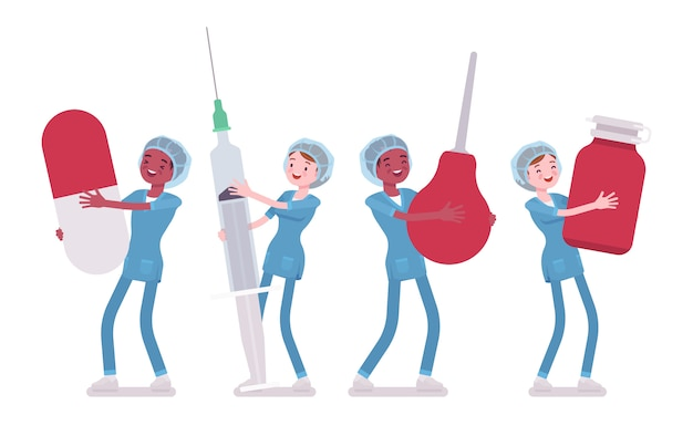 Homme, infirmière et gros outils. jeunes travailleurs en uniforme d'hôpital tenant lavement géant, seringue, pilule. médecine, concept de soins de santé. illustration de dessin animé de style, fond blanc