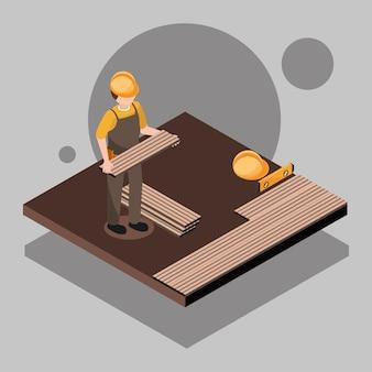 Homme installant le plancher en bois