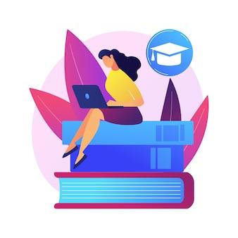 Homme intelligent, étudiant debout sur la pile de livres avec indicateur. auto-apprentissage, amélioration personnelle, acquisition de connaissances. réussite éducative.