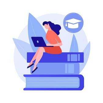 Homme intelligent, étudiant debout sur la pile de livres avec indicateur. auto-apprentissage, amélioration personnelle, acquisition de connaissances
