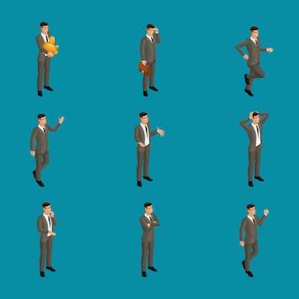 Homme isométrique avec émotions, homme d'affaires, dans des poses différentes avec des émotions différentes. utilisez le caractère approprié du personnage pour les concepts publicitaires