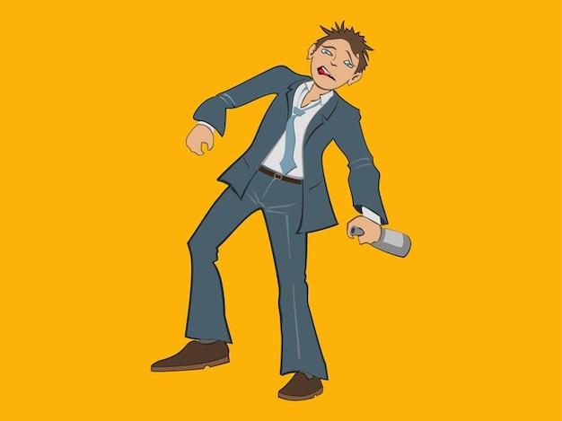 Homme ivre alcool dessin animé de bouteille
