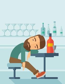 Homme ivre s'endormir dans le pub.