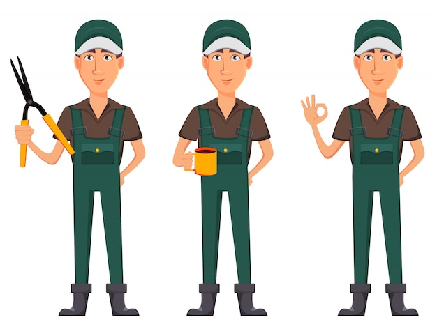 Homme de jardinier, personnage de bande dessinée en uniforme