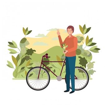 Homme jardiniers avec paysage et vélo