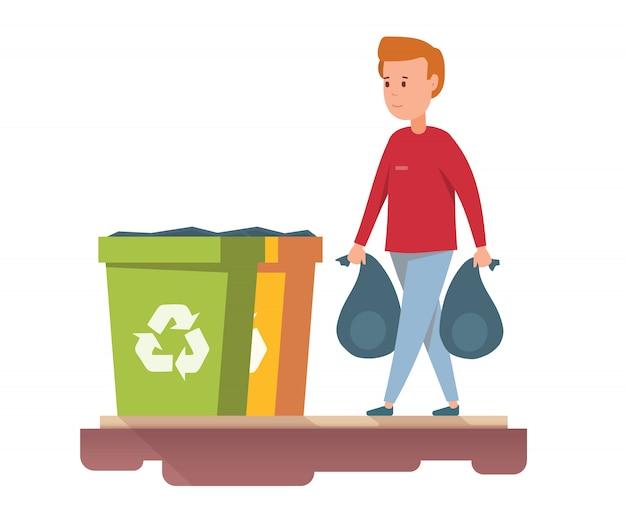L'homme jette des ordures dans la poubelle.