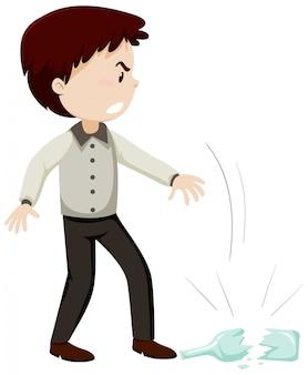 L'homme jette le verre de la bouteille avec le personnage de dessin animé d'humeur en colère isolé