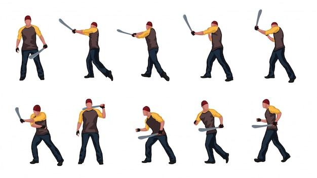 Homme avec jeu de machettes 01