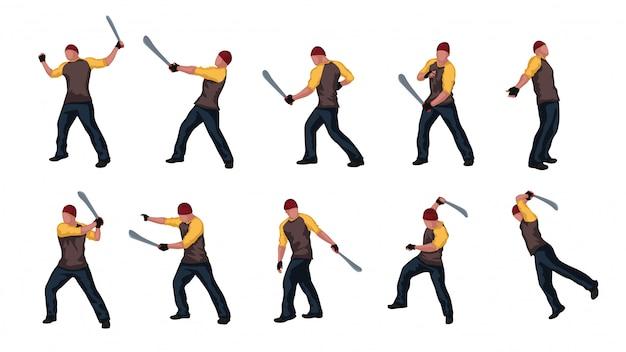 Homme avec jeu de machettes 02