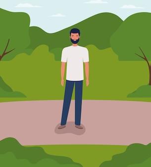 Homme jeune et occasionnel avec barbe dans le champ