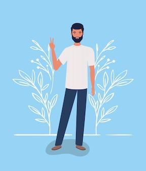 Homme jeune et occasionnel avec personnage de barbe