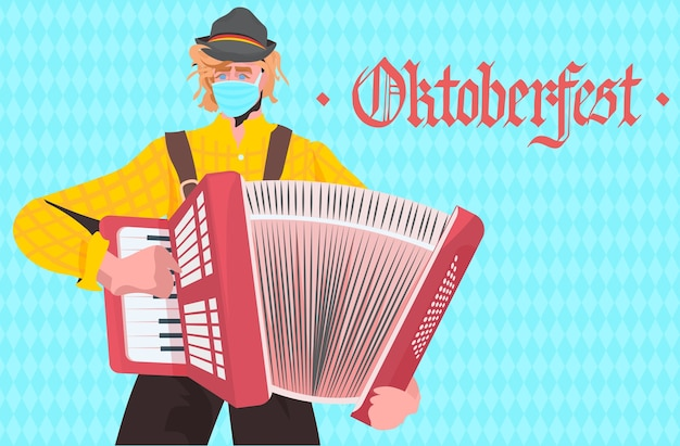 Homme jouant à l'accordéon oktoberfest party festival célébration musicien portant masque