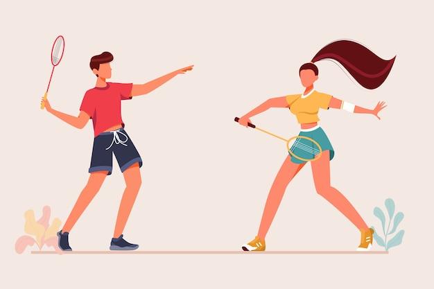 Homme jouant au badminton avec femme