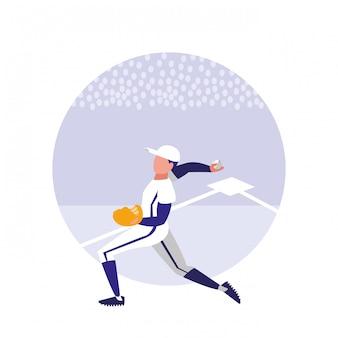 Homme jouant au baseball isolé icône